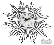 Modern Diamante Beaded Jeweled Sunburst Silver 33cm Wall Clock