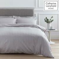 Catherine Lansfield So Soft Stripe Modern Hotel Duvet Cover Set Or Sheets Grey