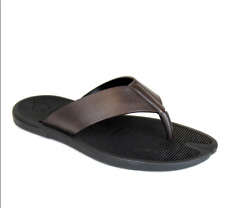 New Gucci Men's Brown Leather Flip-Flop Thong Sandals 338784 2019