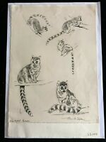EILEEN ALICE SOPER 5 Pencil Sketches on One Sheet Signed & Inscribed Provenance