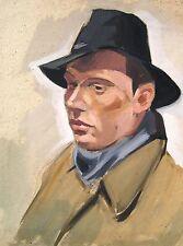 Erich Wessel 1906-1985 Hamburg / Gouache & Kohle / Porträt eines Mannes mit Hut