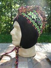 Neon Yellow Black Snowflake Mohawk Hat Aviator Sherpa Alpine Winter Knit Cap