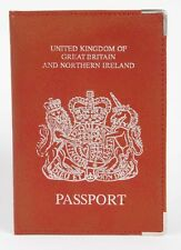 Reino Unido De Cuero Real De Viaje Passport cubrir titular Bronceado