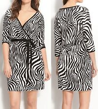 Karen Kane Sweet Dreams Black/White Zebra Print Wrap Dress, S - MSRP $128