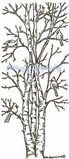 Cardinal Birds Birch Trees Wood Mounted Rubber Stamp Northwoods Stamp O3940 New