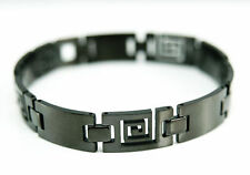 "8.6"" Black Magnetic Pain Relief Steel Chain Bracelet, Unisex Valentine Xmas Gift"