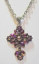 """Kirks Folly Cross Aurora Borealis Crystals w/Removable 20"""" x 1/4"""" Chain Necklace"""