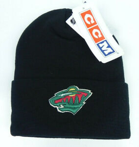 MINNESOTA WILD NHL BLACK VTG KNIT CUFFED BEANIE SKI WINTER CAP HAT NEW! CCM
