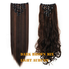 Color Mixed Clip In Hair Extension Double Weft Clip in Full Head Long Hairpiece