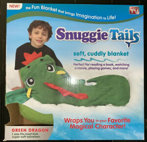 NEW Snuggie Tails Green Dragon Soft Cuddly Blanket Unopened.          MA