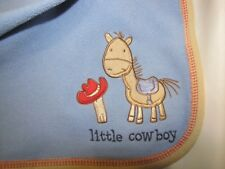 CARTERS JUST ONE YEAR BLUE LITTLE COWBOY FLEECE BABY BLANKET BOY PONY HORSE HAT