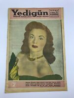 YEDIGUN #24 - Turkish Magazine - 1950s - MARGARET CHAPMAN COVER - Liz Taylor