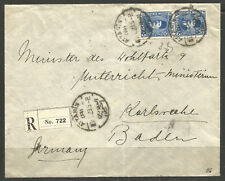 EGYPT. 1929. REGISTERED COVER. ATTARIN TO GERMANY. KARLSRUHR ARRIVAL ON REVERSE