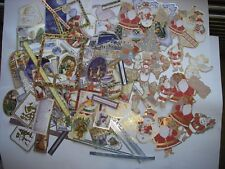 JOBLOT 25 ASSORTED Foiled SHAPED CHRISTMAS CARD MAKING TOPPERS Sentiments New FR