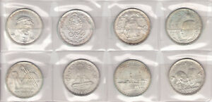 EGYPT LOT 8x1 Pound Silver Coins, UNC, SLIGHTLY TONED !!