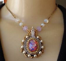 Vintage Necklace Harlequin Opal Rhinestone Our Lady of Carmel Religious Medal
