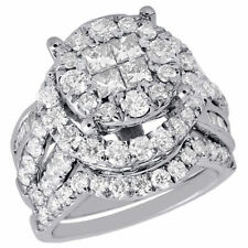 Baguette Diamond Wedding Bridal Set 14K White Gold Halo Engagement Ring 3.01 Ct