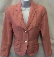NWT ACADEMY GAP Blazer Red Size 0 Petite Striped Linen Preppy Jacket Women's