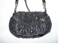 Junior Drake Black Cinched Leather Messenger Crossbody Bag Purse-Chain Link Trim