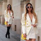 BALMAIN x H&M White Double Breasted Wool Satin Blazer Jacket EUR 38 US 8 UK 12