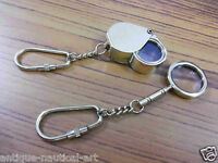 Set Of Two Brass Pocket Magnifier Key Chain Antique Vintage Magnifying Glass