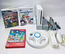 Nintendo White Wii Console Bundle Mario Kart New Super Mario Super Smash Bros