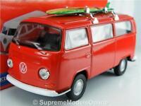 VOLKSWAGEN T2 CAMPER MODEL BUS VAN 1/36 RED SURF BOARD SLIDING DOOR TYPE Y05J^*^