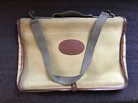 Old Barbour Khaki Canvas & Tan Leather Trim Map Case.