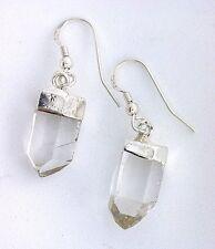 Pair Natural Quartz Crystal Sterling Silver Earrings Gem Gemstone EBS7141