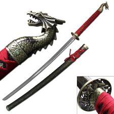 "NEW! 41.5"" Gold Dragon Red Japanese Samurai Katana Sword"