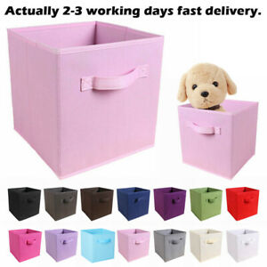 4/8 x Foldable Storage Boxes Square Canvas Storage Collapsible Box Fabric Cubes
