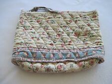 "Vera Bradley IVORY FLORAL BLUE Cosmetic Makeup Organizer Multi Purpose Bag 8""x6"""