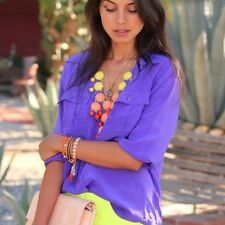 J Crew Silk Blythe Long Sleeved Blouse Army Top Marrakech Purple 4