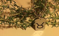 Tungsten Carbide Dog Tag Zodiac - Taurus Pendant Necklace