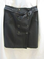 ANNE TAYLOR Womans Black Front Double Button Belted Skirt - Size 6P NWT