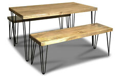 LIGHT VINTAGE DINING TABLE AND 2 BENCHES (VIN9L&2VIN10L)