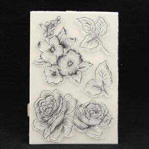 1pc Transparent Silicone Stamp Seal Clear Big Flowers Card Making DIY Scrapbooki
