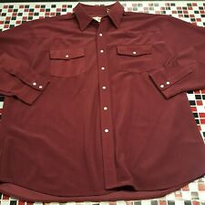 VTG ~ Haband Corduroy ~ XXL 2XL Pearl Snap Front Western Cowboy ~ WINE RED Shirt