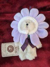 Boyds Boyd's Bears Mini Plush Lila Flower Bear Ornament Purple Flower Hat w/ Tag