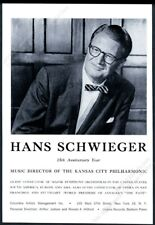 1962 Hans Schwieger photo conducting gig booking vintage print ad
