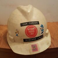Missouri Pacific Lines Railroad Hard Hat MSA V Guard vintage 1970's 80s