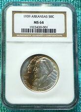 1939-P MS-64 Arkansas Centennial Classic Commemorative Silver Half 2,104 Minted