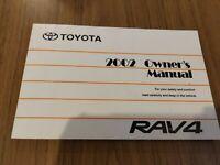 2002 Toyota RAV4 Factory Owners Manual