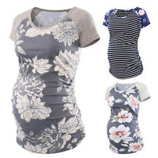 Women Floral Breastfeeding Short Sleeve Maternity Clothes T Shirt Blouse Tops US