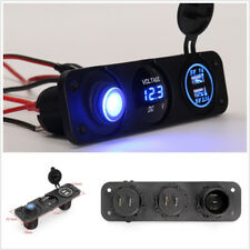 12V Blue LED Car Off-Road Dual USB 3.1A Rocker Switch Cigarette Lighter Charger