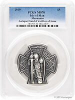 2019 £5 Isle of Man First King of Mann 3 oz Antique Silver Coin PCGS MS70 FDI