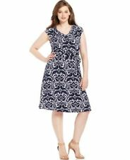 INC INTERNATIONAL CONCEPTS PLUS SIZE PRINTED BELTED A-LINE DRESS WOMENS 2X