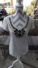 """Chico's, NWT Oatmeal """"Tribal Beads"""" Cotton/Spandex Cap Sleeve Top, size 1"""