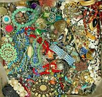 Huge Lot Vintage Now Jewelry Junk Art Craft FULL Box POUNDS Beads Brooch Chains
