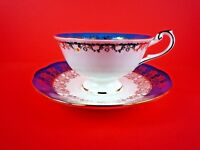 QUEEN'S MONARCH FINE BONE CHINA TURQUOISE FLORAL TEACUP & SAUCER SET ~ ENGLAND